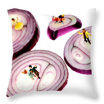 Dancing On Onoin Slices Little People On Food Throw Pillow
