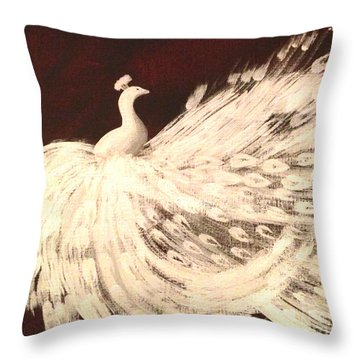 Throw Pillow featuring the painting Dancing Peacock Cream by Anita Lewis