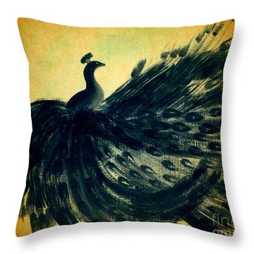 Throw Pillow featuring the painting Dancing Peacock Gold by Anita Lewis