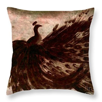 Throw Pillow featuring the painting Dancing Peacock Grey by Anita Lewis