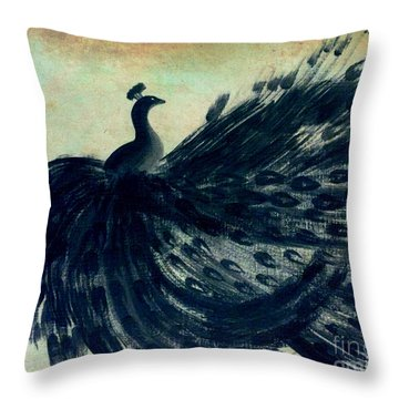 Throw Pillow featuring the painting Dancing Peacock Mint by Anita Lewis