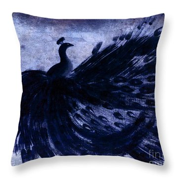 Throw Pillow featuring the painting Dancing Peacock Navy by Anita Lewis