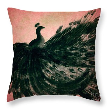 Throw Pillow featuring the digital art Dancing Peacock Pink by Anita Lewis