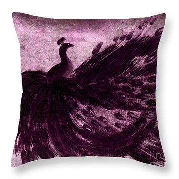 Dancing Peacock Plum Throw Pillow