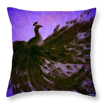 Throw Pillow featuring the digital art Dancing Peacock Vivid Blue by Anita Lewis