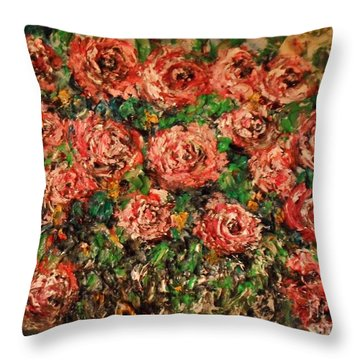 Dancing Red Roses Throw Pillow