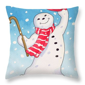 Dancing Snowman Throw Pillow by Lavinia Hamer