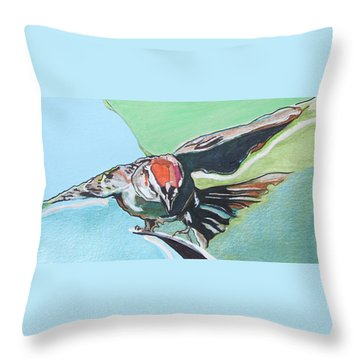 Dancing Sparrow Throw Pillow by Jamie Downs