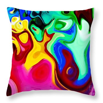 Throw Pillow featuring the digital art Dancing Spirits  by Annie Zeno