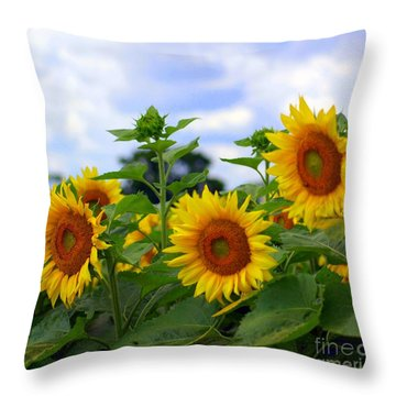 Dancing Sunflowers Throw Pillow by Kathleen Struckle