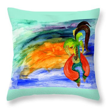 Throw Pillow featuring the painting Dancing Tree Of Life by Mukta Gupta
