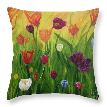 Dancing Tulips Throw Pillow