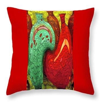 Dancing Vases Throw Pillow by Ben and Raisa Gertsberg