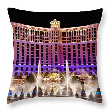Dancing Waters - Bellagio Hotel And Casino At Night Throw Pillow