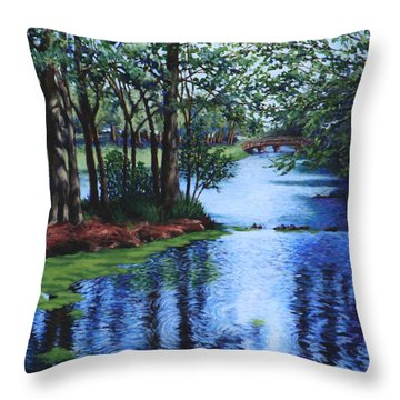 Throw Pillow featuring the painting Dancing Waters by Penny Birch-Williams