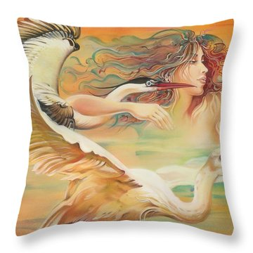 Dancing With Birds Throw Pillow