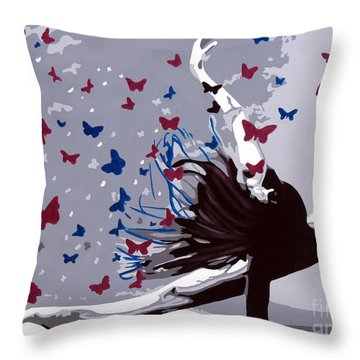 Dancing With Butterflies Throw Pillow by Denise Deiloh