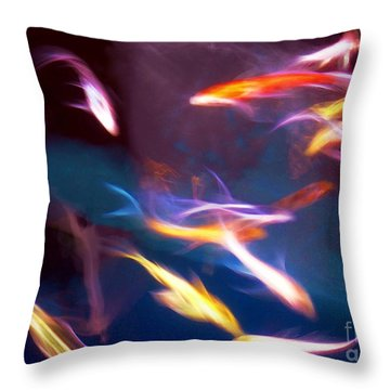 Dancing With Koi Throw Pillow