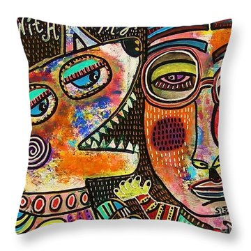 Dancing With My Dog Throw Pillow by Sandra Silberzweig