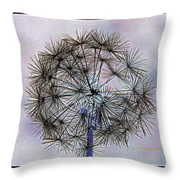 Dandelion Blue And Purple Throw Pillow by Kathy Barney
