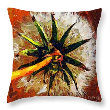 Dandelion Clock Throw Pillow by Dragica  Micki Fortuna