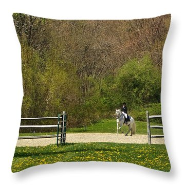 Throw Pillow featuring the photograph Dandelion Dressage by Joan Davis