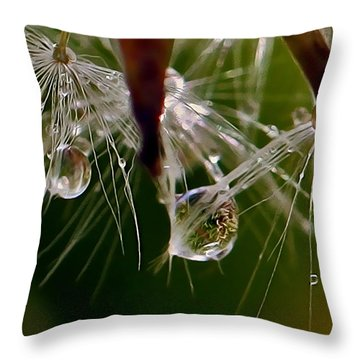 Dandelion Droplets Throw Pillow