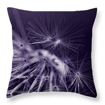 Dandelion Fly Away Dark Purple Throw Pillow by Jennie Marie Schell