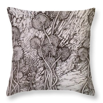 Dandelions Throw Pillow by Iya Carson