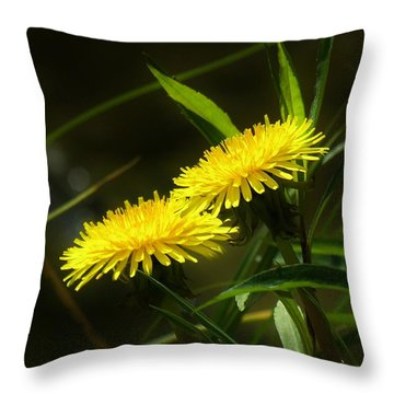 Throw Pillow featuring the photograph Dandelions by Sherman Perry