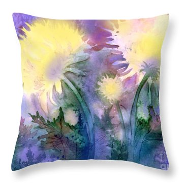 Throw Pillow featuring the painting Dandelions by Teresa Ascone