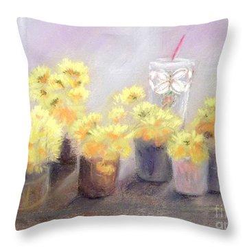 Dandelions Throw Pillow by Yoshiko Mishina