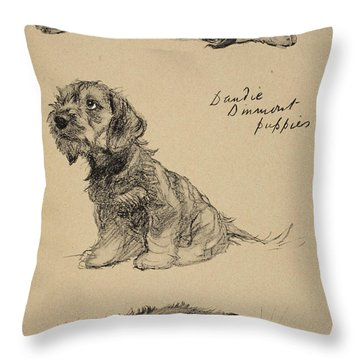 Dandie Dinmont Puppies, 1930 Throw Pillow by Cecil Charles Windsor Aldin