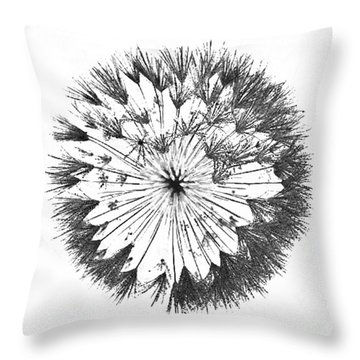 Throw Pillow featuring the digital art Dandylion Black On White by Clayton Bruster
