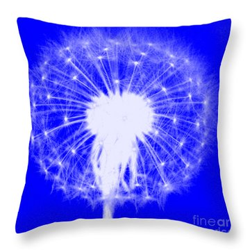 Throw Pillow featuring the digital art Dandylion Blue by Clayton Bruster