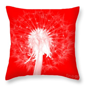 Throw Pillow featuring the digital art Dandylion Red by Clayton Bruster