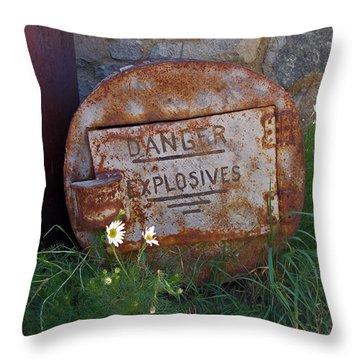 Danger Explosives Throw Pillow by David Pantuso