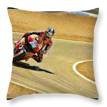 Dani Pedrosa Running Out Of Road Throw Pillow