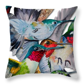 Da133 Hummingbirds By Daniel Adams Throw Pillow