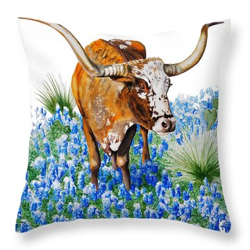 Da102 Longhorn And Bluebonnets Daniel Adams Throw Pillow