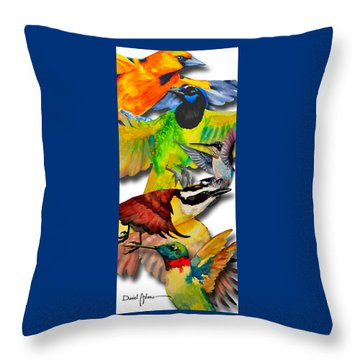 Da131 Multi-birds By Daniel Adams Throw Pillow