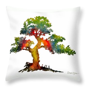 Da140 Rainbow Tree Daniel Adams Throw Pillow