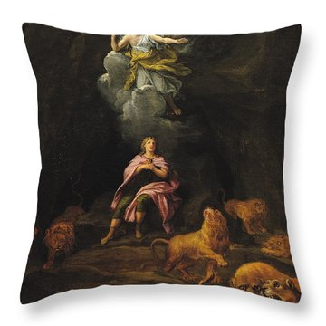 Daniel In The Den Of Lions Oil On Canvas Throw Pillow