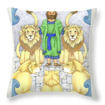 Daniel In The Lions' Den Throw Pillow by Alison Stein