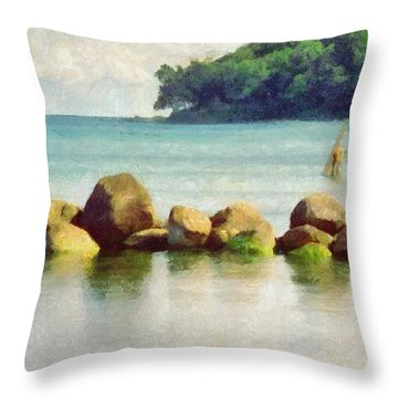 Danish Coast On The Rocks Throw Pillow by Jeffrey Kolker
