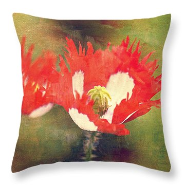 Danish Flag Poppies Throw Pillow