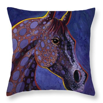 Throw Pillow featuring the painting Dapple Grey by Bob Coonts