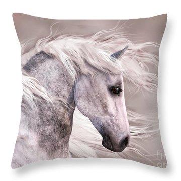 Dappled Grey Horse Head Profile Throw Pillow