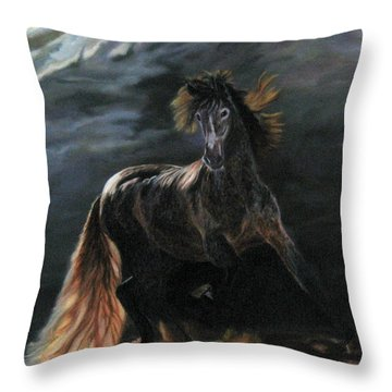 Throw Pillow featuring the painting Dappled Horse In Stormy Light by LaVonne Hand