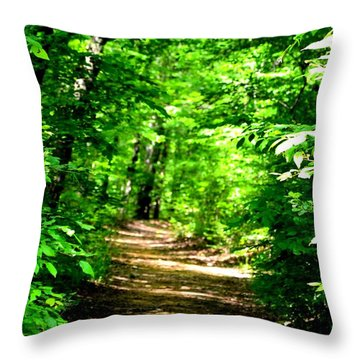 Dappled Sunlit Path In The Forest Throw Pillow by Maria Urso